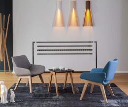 Prostoria Designer Sessel Monk mit grauem und blauem Stoffbezug
