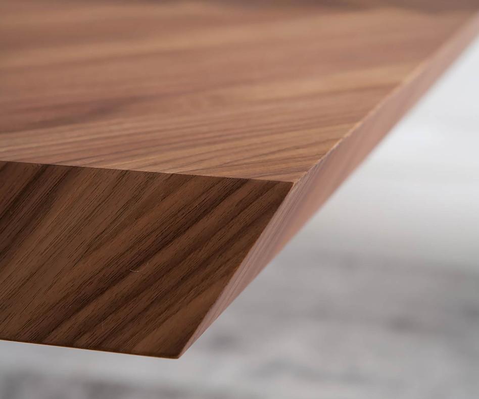 Ozzio 4x4 Fisso Design Esstisch T241 Tischplatte mi Walnuss Furnier veredelt