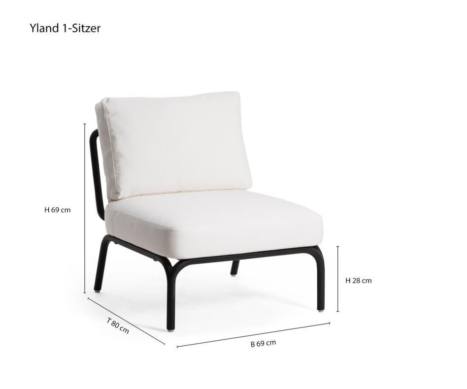 Oasiq Yland Eckbank Design Sofa mit einem Yland 1-Sitzer mit weißer Polsterauflage