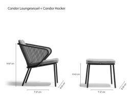Todus Condor Designer Loungesessel Skizze Maße Größen Größenangaben