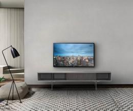 Exklusives al2 Mobius 005 TV Board im Wohnzimmer mit Fernseher