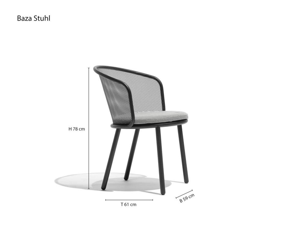 Moderner Todus Baza Designer Balkonstuhl mit Anthrazit-Gestell und grauem Stoffbezug