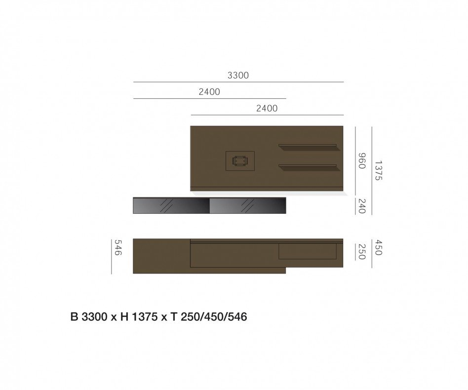 Exklusive Livitalia Design Wohnwand C54 in Braun Matt lackiert