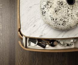 Novamobili Nachttisch Norman 2 Schubladen Eiche hell mit Marmor Abdeckplatte