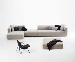 Moderner Prostoria Pouf Designer Hocker Match mit Sofa und Sessel im Wohnzimmer