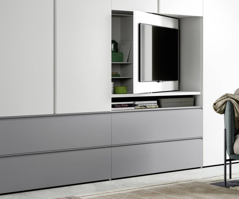 Design Kleiderschrank TV Fach Element