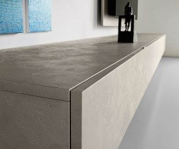 Hochwertige Livitalia Design Wohnwand C39 im Detail Front in Betonoptik
