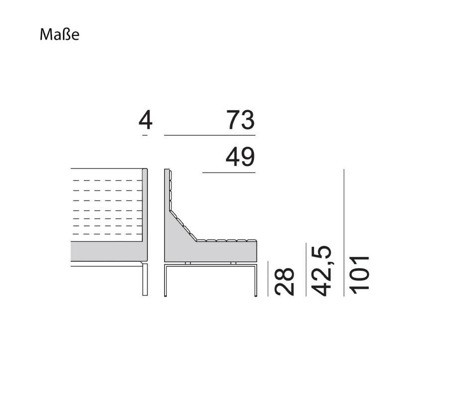 Hochwertiges Marelli Büro Design Sofa mit hoher Lehne Blau