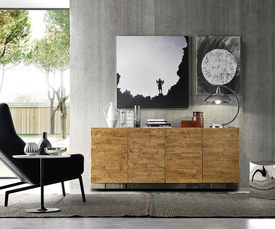 FGF Mobili Massivholz Sideboard Regular Oak Parawood Glas Sockel