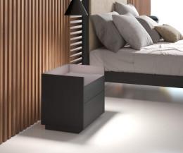 Hochwertiger Design Nachttisch im Schlafzimmer mit zwei Schubladen dunkelgrau