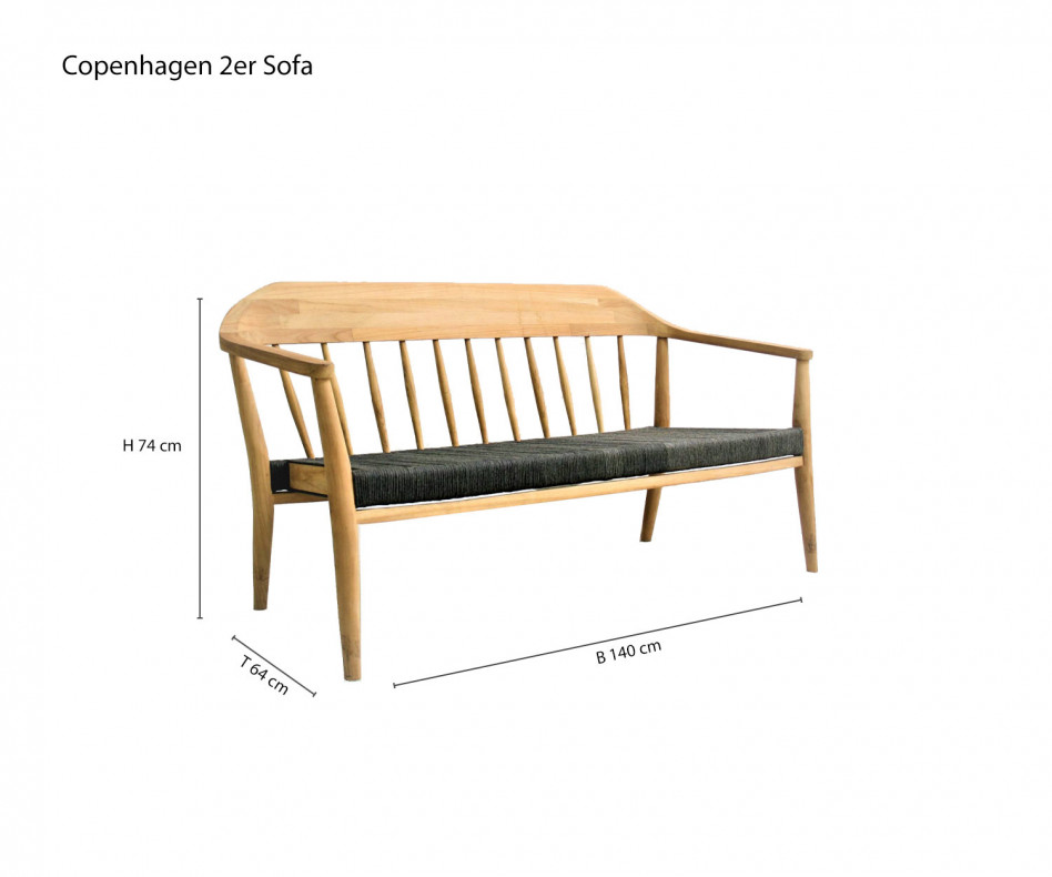 Exklusiver Oasiq Copenhagen 2 Sitzer Sofa Teak Holz Gestell Anthrazit Bespannung