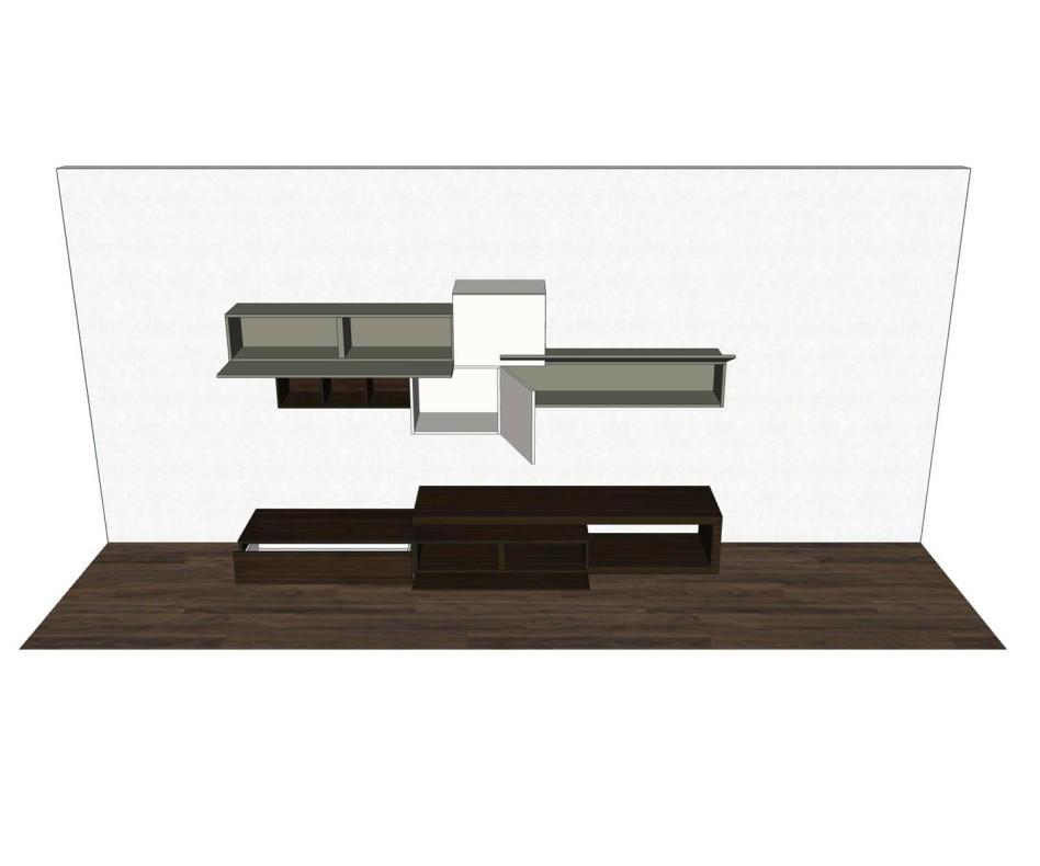Exklusive Livitalia Design Wohnwand C31 mit schwebenden TV Board und Hängeschränken