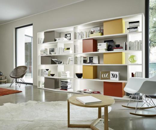 Exklusives Livitalia Design Bücherregal C86 mit LED Beleuchtung