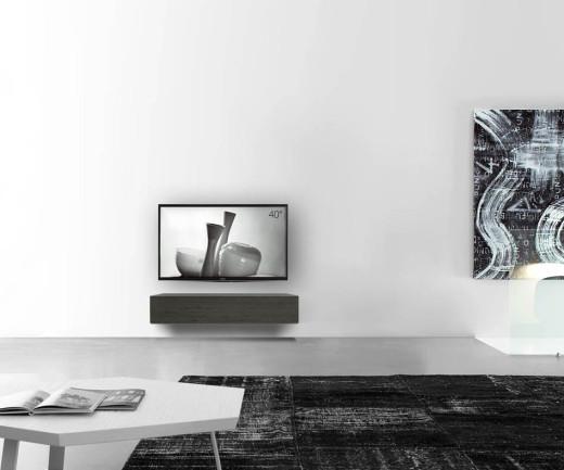 Livitalia Holz Lowboard Konfigurator Wand 120 cm 24 cm 46 cm Eiche grau
