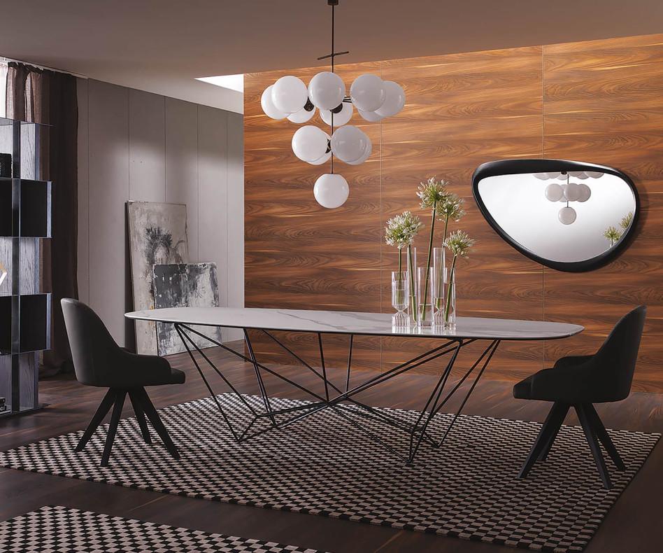 Moderner Design Esstisch ovale Tischplatte Walnuss Furnier im Esszimmer