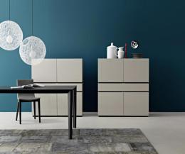 Hochwertiges Livitalia Design Highboard Cubi in hochglänzendem Weiß lackiert