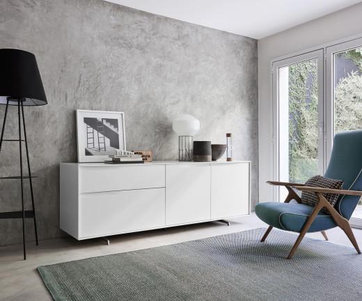 Hochwertiges Livitalia Vela Design Sideboard in Weiß Matt