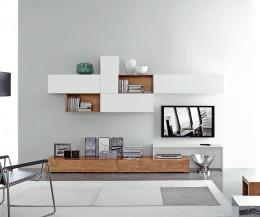 Moderne Livitalia Design Hängeschränke Horizontal 2x B90 & B120 x H 32 Weiß Matt