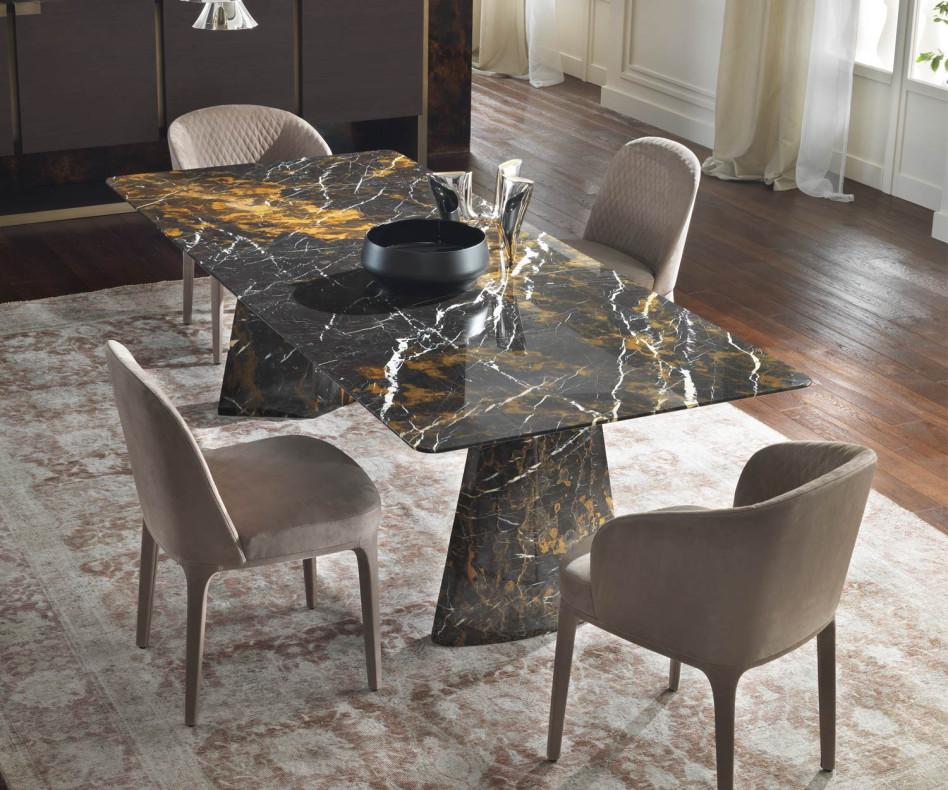 Marelli Hebo Design Luxus Edel Esstisch Black Gold Marmor