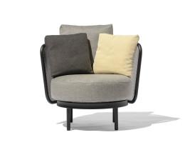 Wetterfester Todus Baza Round Design Loungesessel mit Kissenset