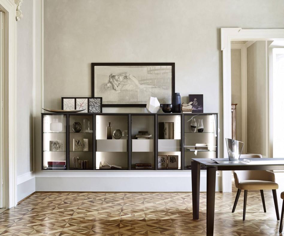 Exklusive hängende Livitalia Design Glasvitrine in Braun Matt