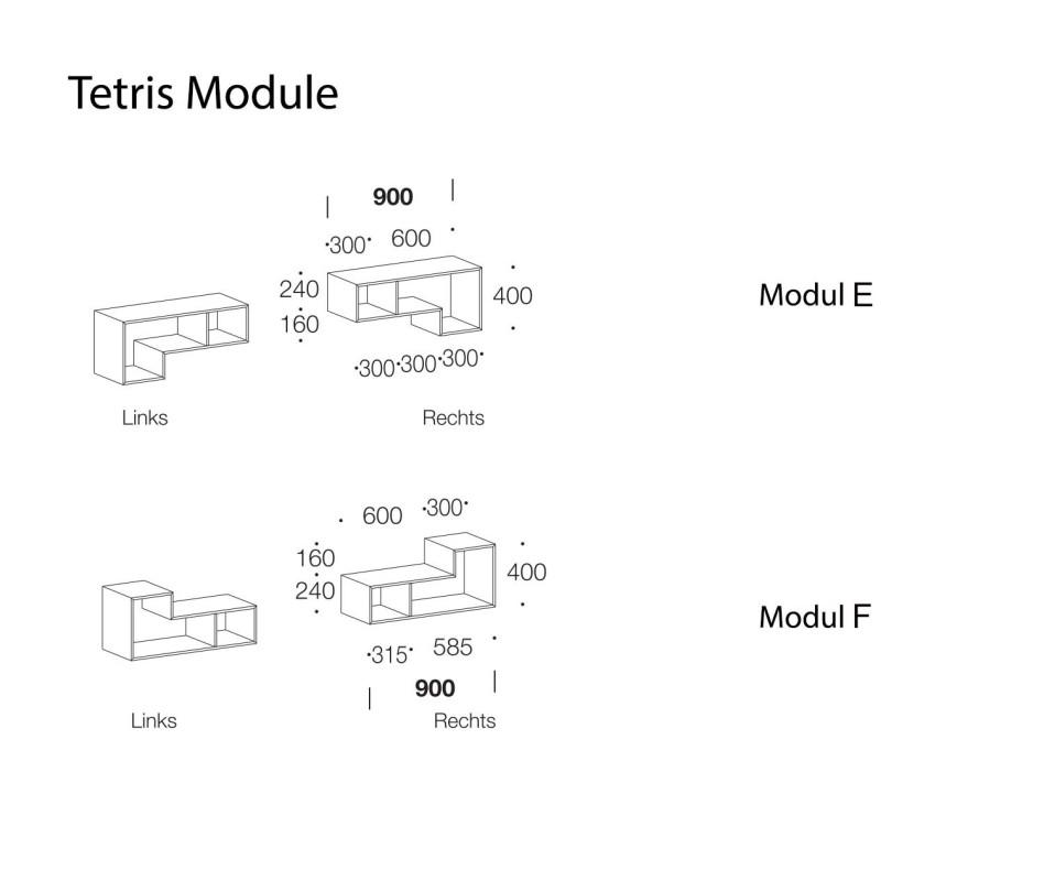 Exklusives offenes Livitalia Design Wandregal Tetris im Wohnzimmer