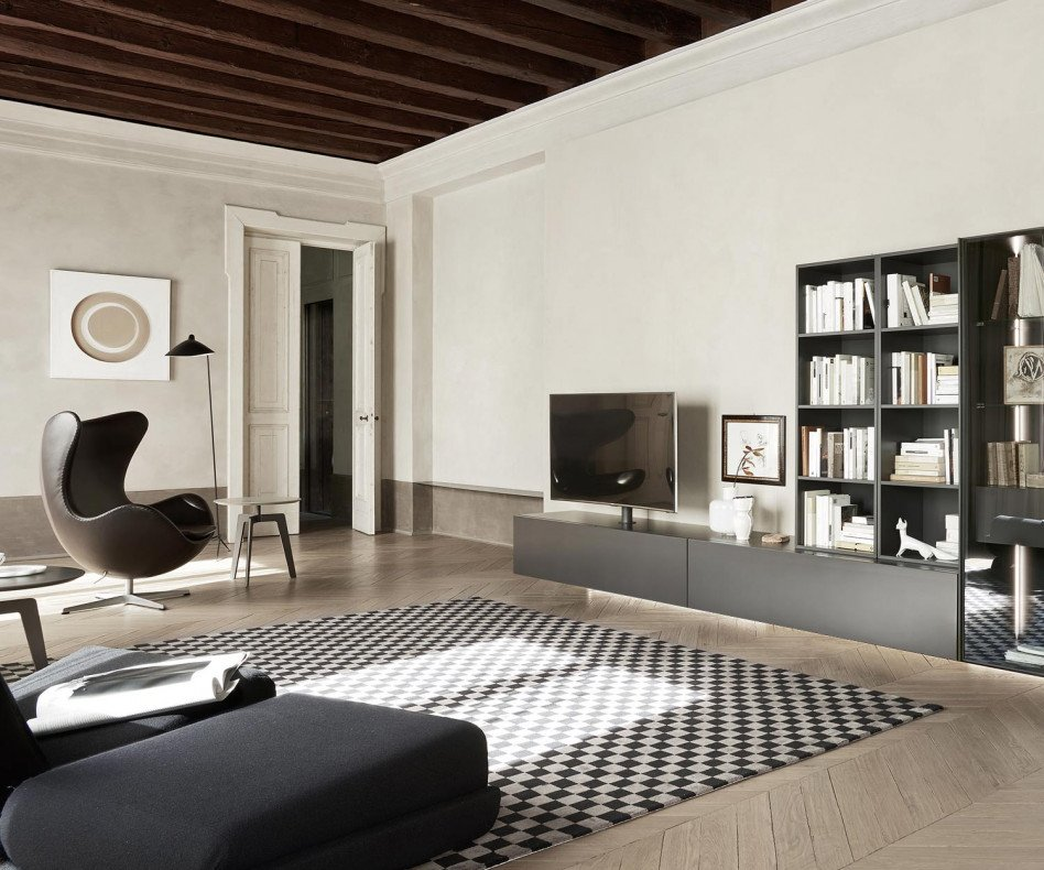 Exklusiver hängendes Livitalia Design Lowboard Konfigurator mit TV Säulen Halterung