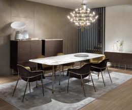 Exklusiver Design Esstisch Marmor im Esszimmer in Gruppe mit Stühlen