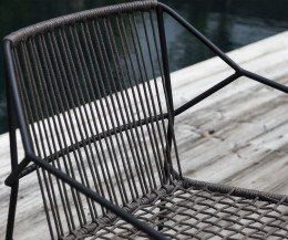 Moderner Oasiq Sandur Schnur Design Sessel mit Anthrazit-Edelstahl-Gestell