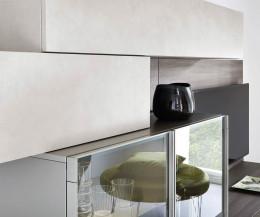 Moderne Livitalia Design Wohnwand C35 Detail Betonoptik Vitrine