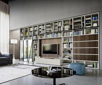 Livitalia Bücherregal mit Leiter C60