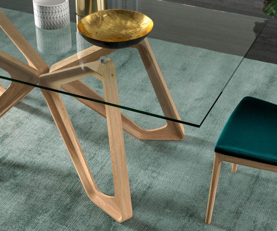 Exklusiver Design Esstisch Papillon Glastisch im Esszimmer schwarze Karboneiche