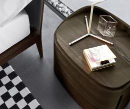 Hochwertiger Livitalia Design Holz Nachtschrank Round mit rundem Kantenprofil