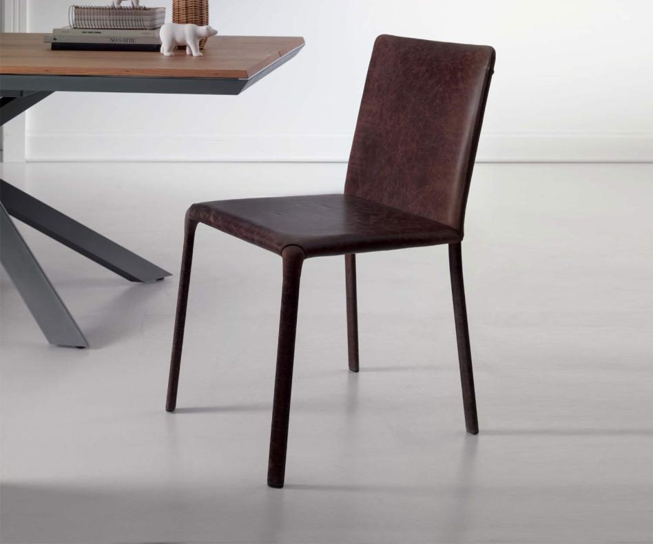 Ozzio Design Stuhl Lunette Leder Schwarz