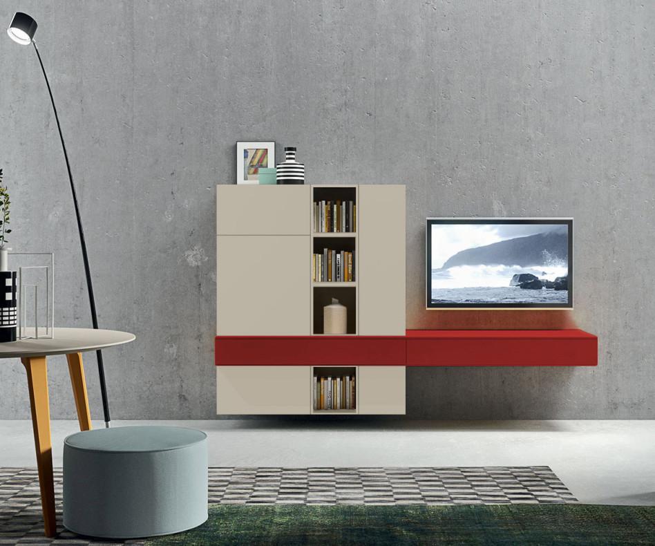 Exklusive TV Wohnwand in Sabbia mit Highlightfarbe Rossa