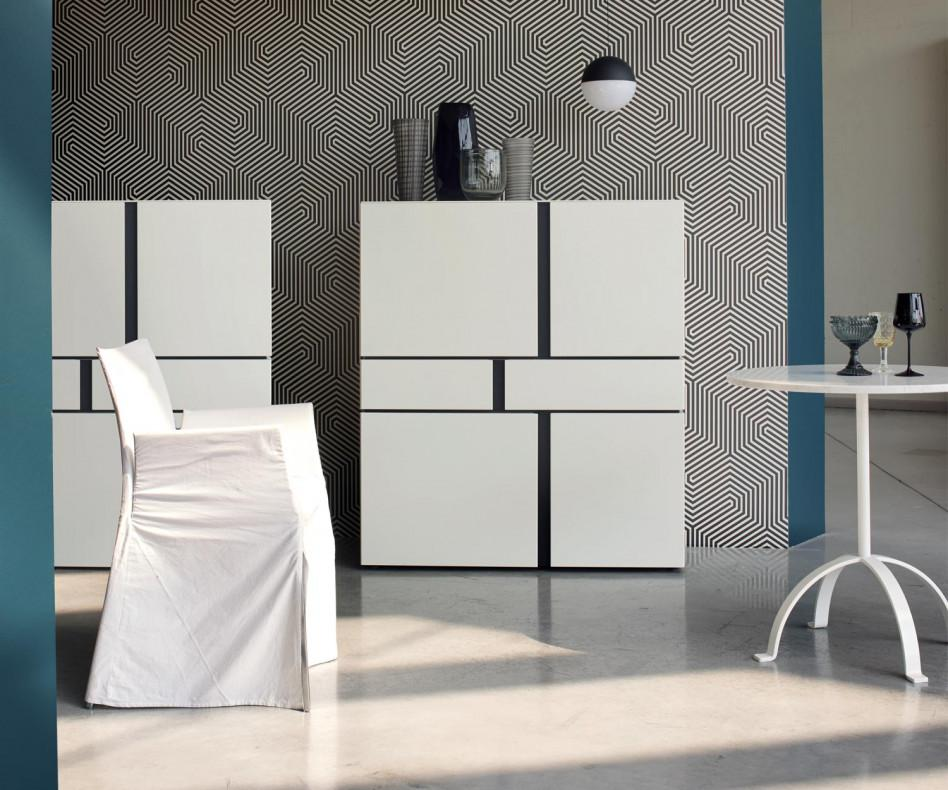 Livitalia Abaco Highboard weiß Matt