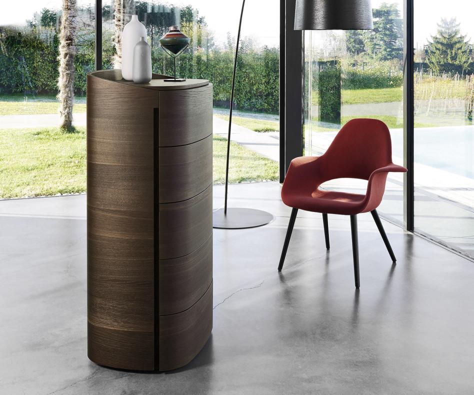 Exklusive Livitalia Design Hochkommode Round in Eiche Braun
