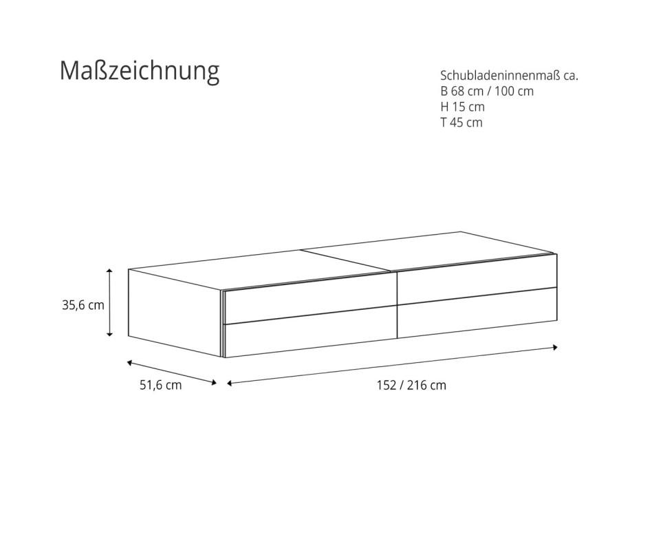 Novamobili Hängekommode Easy 4 Schubladen Matt weiss B 216cm