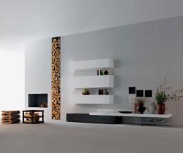 Design Wohnzimmer Hängeschränke Weiß 2x H32 B120 & 1x H40 B120