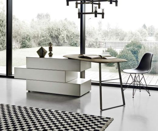 Exklusive Livitalia Ecletto Design Kommode mit Schminktisch in Hellgrau Matt