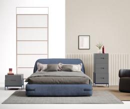 Hochwertiger Novamobili Float Design Nachttisch in Grau im Schlafzimmer