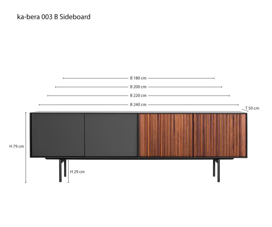 Design Sideboard Walnuss Dunkelgrau Matt lackiert Türen mit Push Pull Technik