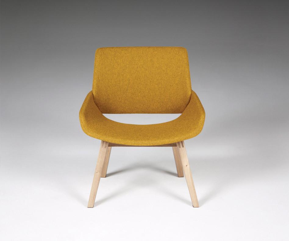 Hochwertiger Prostoria Design Sessel Monk mit grauem Stoffbezug