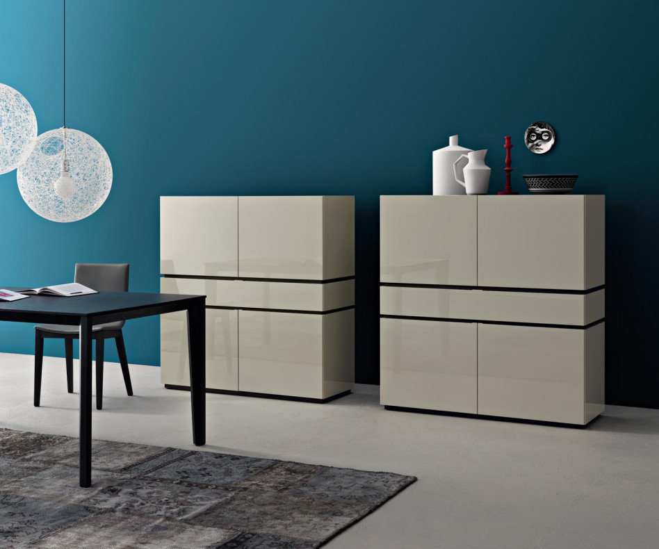 Exklusives Livitalia Design Highboard Cubi in Weiß Hochglanz lackiert
