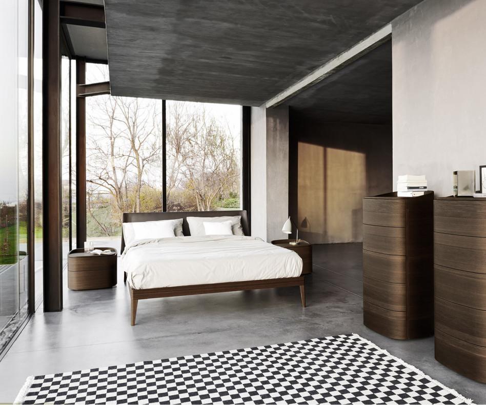 Exklusiver Livitalia Design Nachtschrank Round in Eiche Braun furniert