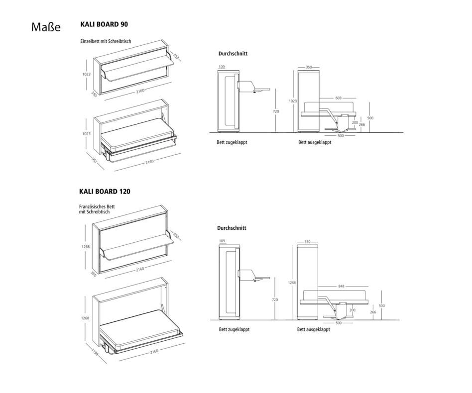 Clei Kali 90/120 Board Schrankbett mit Schreibtisch
