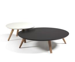 Moderner runder Prostoria Design Beistelltisch in Weiß und Schwarz