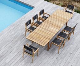 Oasiq Skagen Design Terrassenstuhl aus Teak mit handgewobenen Seilen gepolstert