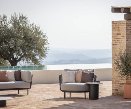 Moderne Todus Baza Round Designer Lounge mit Bezug Grau