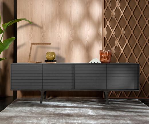 Exklusives al2 Mobius 002 Design Sideboard Eukalyptus Sockel und Füße Dunkelgrau